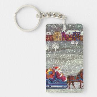 Navidad del vintage, trineo abierto del caballo de llavero rectangular acrílico a doble cara