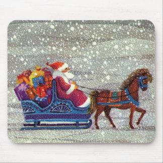 Navidad del vintage, trineo abierto del caballo de mouse pads