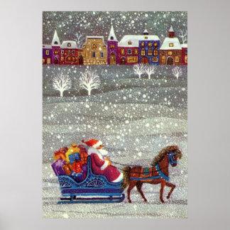 Navidad del vintage, trineo abierto del caballo de posters
