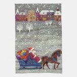 Navidad del vintage, trineo abierto del caballo de toallas de mano