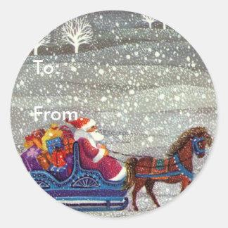 Navidad del vintage, trineo abierto del caballo de pegatinas redondas