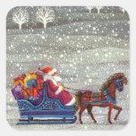 Navidad del vintage, trineo abierto del caballo de calcomania cuadrada personalizada