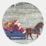 Navidad del vintage, trineo abierto del caballo de pegatina redonda
