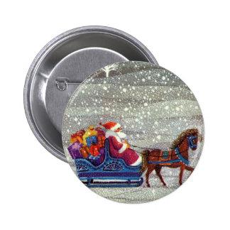 Navidad del vintage, trineo abierto del caballo de pin redondo de 2 pulgadas