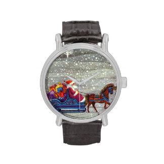 Navidad del vintage, trineo abierto del caballo de reloj de mano