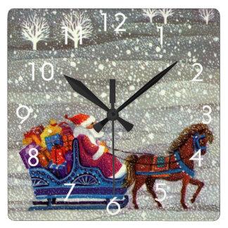 Navidad del vintage, trineo abierto del caballo de reloj cuadrado