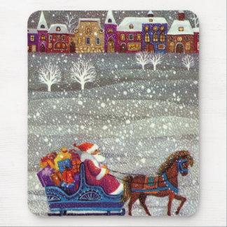 Navidad del vintage, trineo abierto del caballo de tapete de ratón