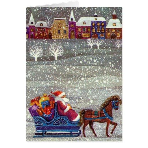 Navidad del vintage, trineo abierto del caballo de felicitación