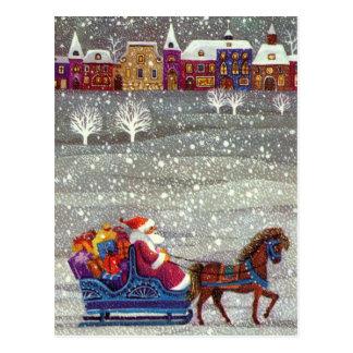 Navidad del vintage, trineo abierto del caballo de postales