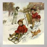 Navidad del vintage, trineo de los niños del póster