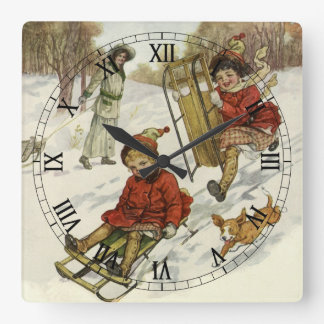 Navidad del vintage, trineo de los niños del reloj cuadrado