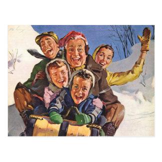 Navidad del vintage, trineo largo Sledding de la Postal