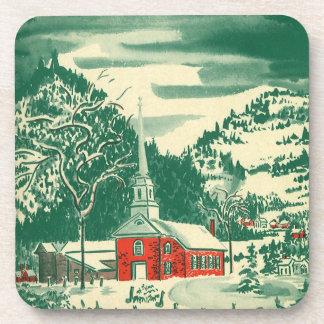 Navidad del vintage, una iglesia Snowscape en Posavasos De Bebidas