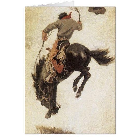 Navidad del vintage, vaquero en caballo Bucking Tarjeta De Felicitación