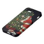 Navidad del vintage, velas del Lit de Papá Noel en iPhone 5 Case-Mate Coberturas