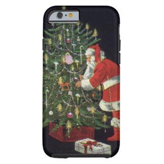 Navidad del vintage, velas del Lit de Papá Noel en Funda De iPhone 6 Tough