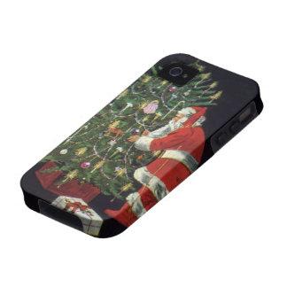 Navidad del vintage velas del Lit de Papá Noel en iPhone 4 Carcasa