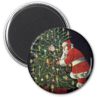 Navidad del vintage, velas del Lit de Papá Noel en Imán Para Frigorifico