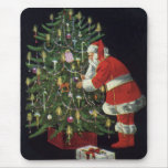 Navidad del vintage, velas del Lit de Papá Noel en Alfombrilla De Ratones