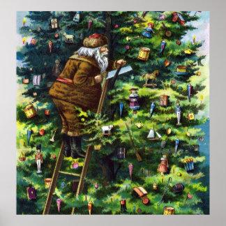 Navidad del vintage Victorian Papá Noel con el ár Poster