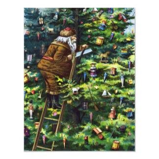"""Navidad del vintage, Victorian Papá Noel con el Invitación 4.25"""" X 5.5"""""""