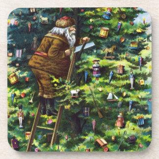 Navidad del vintage, Victorian Papá Noel con el Posavasos De Bebidas