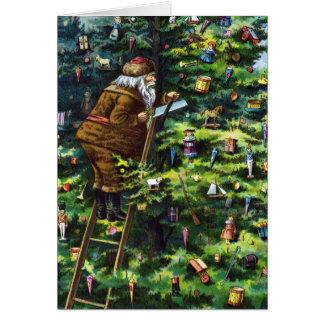 Navidad del vintage, Victorian Papá Noel con el Felicitación