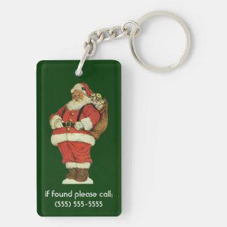 Navidad del vintage, Victorian Papá Noel con los Llavero Rectangular Acrílico A Doble Cara