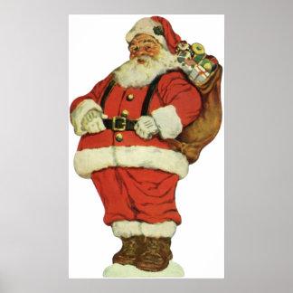 Navidad del vintage, Victorian Papá Noel con los Póster