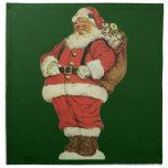 Navidad del vintage, Victorian Papá Noel con los Servilleta Imprimida