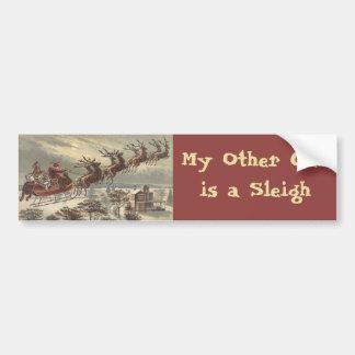 Navidad del vintage, Victorian Papá Noel en trineo Pegatina De Parachoque