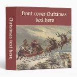 """Navidad del vintage, Victorian Papá Noel en trineo Carpeta 1 1/2"""""""