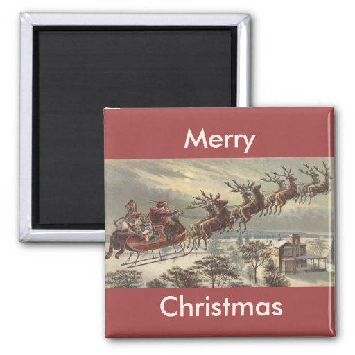 Navidad del vintage, Victorian Papá Noel en trineo Imán Cuadrado
