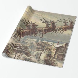 Navidad del vintage, Victorian Papá Noel en trineo