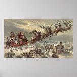 Navidad del vintage, Victorian Papá Noel en trineo Póster