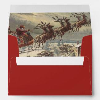 Navidad del vintage, Victorian Papá Noel en trineo Sobres