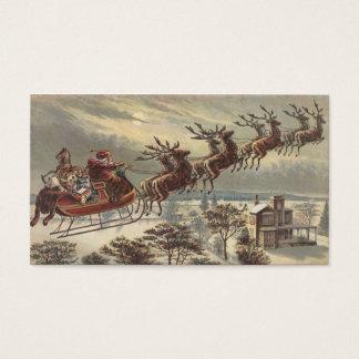 Navidad del vintage, Victorian Papá Noel en trineo Tarjeta De Negocios