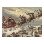 Navidad del vintage, Victorian Papá Noel en trineo Tarjeta Postal