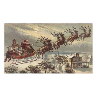Navidad del vintage, Victorian Papá Noel en trineo Tarjetas De Visita