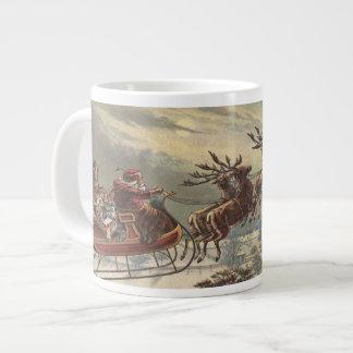Navidad del vintage, Victorian Papá Noel en trineo Taza Grande