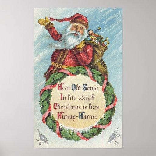 Navidad del vintage, Victorian Papá Noel Poster