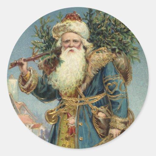 Navidad del vintage, Victorian Papá Noel Etiqueta Redonda