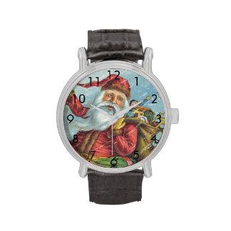 Navidad del vintage, Victorian Papá Noel Relojes De Mano