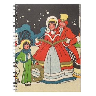 Navidad del vintage, villancicos de la familia de libreta espiral