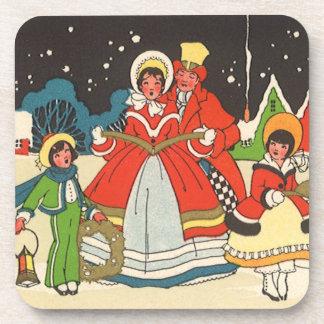 Navidad del vintage, villancicos de la familia de posavasos de bebida