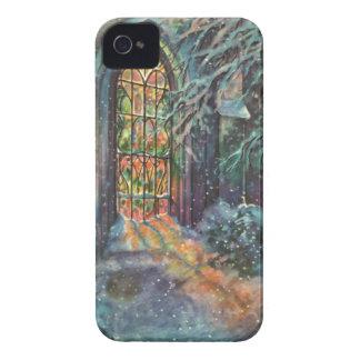 Navidad del vintage, vitral en iglesia iPhone 4 carcasas
