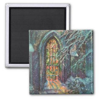 Navidad del vintage, vitral en iglesia iman de frigorífico