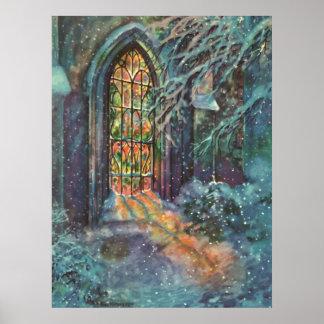 Navidad del vintage vitral en iglesia impresiones