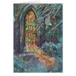Navidad del vintage, vitral en iglesia felicitaciones