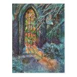Navidad del vintage, vitral en iglesia tarjetas postales